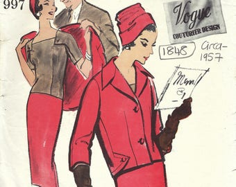 1957 Vintage VOGUE Sewing Pattern B36 Three-Piece Suit (1848) Michael of London Vogue 997