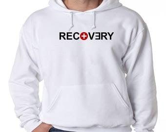 Eminem Recovery Logo Hoodie Hip Hop Fleece Sweatshirt Eminem Slim Shady Detroit Music Dirty Dozen Rap God D-Twizzy Walk On Water New Revival