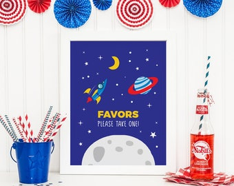 Space birthday sign, Space party sign, Space party favors sign, Printable Space decorations, Kids party decorations, Boys birthday favours