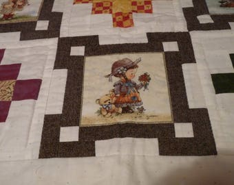 VERY COST PATCHWORK HAND QUILTED TODDLER BLANKET