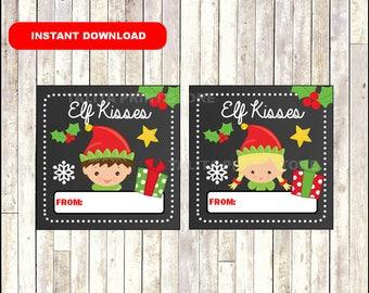 Elf Kisses Gift Tags - Christmas Favor Tags - Christmas present tags - Elf Kisses tags - Instant Download