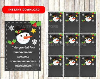 Snowman Gift Tags - Christmas Favor Tags - Christmas present tags - Snowman tags - TYPE Your Own Text - Editable