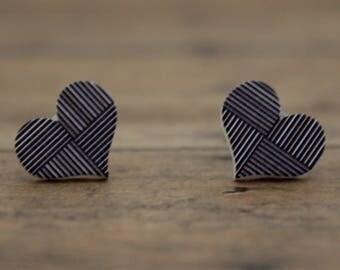 Wood Stud Earrings / Stripe Heart Wood Stud Earrings