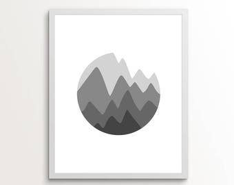 Mountain Art, Mountain Digital Download, Mountain Wall Art, Monochrome Wall Art, Grey Wall Art, Gifts for Him, Mountain Print, Grey Art