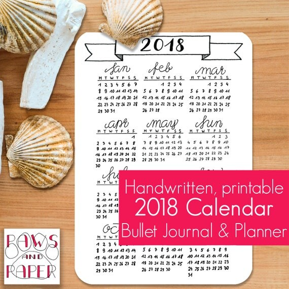 Calendar Bullet Journal 2018 : Calendar printable a planner insert bullet journal