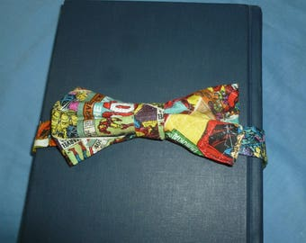 Comic Book Toddler Bow Tie -3 inch bow and snap closure on band, toddler superhero bowtie, hulk bowtie, spiderman bowtie, ring bearer bowtie