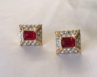 Monet faux ruby red earrings