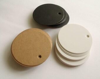 10 tags labels hardback 5cm round