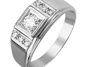 14KT White Gold 0.62ctw Diamond Ring, 8.48gm. Size: 13 -1825