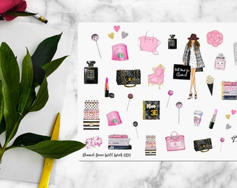Chic Coco Chanel Stickers for Your Erin Condren Planner, inkWell Press Planner Stickers, Planner Sticker   B0124