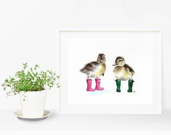 Ducks in boots, mallard duck, ducks in wellies, ducklings, duckling art, duck painting, cute duck, duck print, duckling print, nursery print
