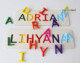 Personalized 1st birthday gifts etsy au personalized name puzzle 1st birthday gift boy girl wooden name puzzle personalized baby negle Image collections