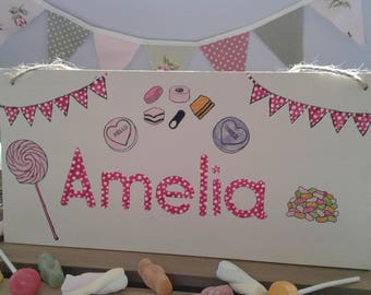 Personalised children's wooden sign. Uk seller. Handcrafted.
