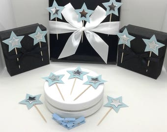 24 cupcake toppers / decorations. Pale blue stars with silver stars. Birthdays. Baby showers. Christenings. Baptisms.Celebrations.UK seller