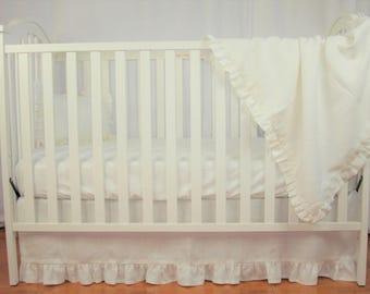 Bumperless Crib Bedding Set  Natural Washed Linen In Ivory   2 Pc   Baby  Bedding