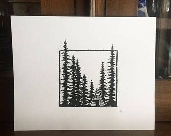 Original Cabin Woodblock Print