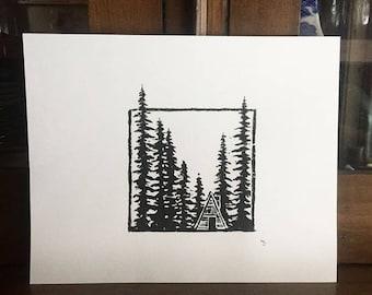 Original Cabin Woodblock Print