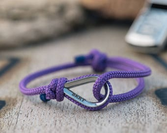 Handmade Customized Nautical sailing bracelet silver purple color | Personalized Men present | Adjustable size, Unisex