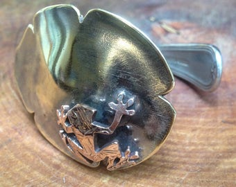Frog on a Lilly Pad antique spoon bangle