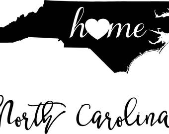 North Carolina State Map digital file: SVG PNG Jpg eps Vector Graphic Clip Art NC Outline North Carolina home state geography outline
