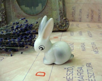 Vintage Hungarian HOLLOHAZA  animal figurine,Little bunny, stamped,handpainted