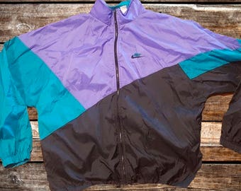 Vintage 90s Nike Windbreaker Purple, Teal, and Black Jacket Size L For Fans of Vintage Nike Windbreakers, Vintage Jackets, or The 1990s