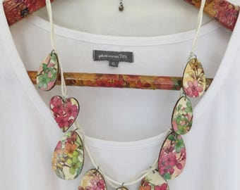 Wooden necklace, Decoupage necklace, Pink necklace, Blue necklace, Unique necklace, Bib necklace, One of a kind, Boho style,