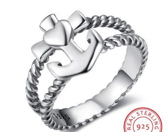 925 Sterling Silver Anchor Heart & cross with twisted rope Ring