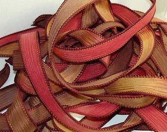 """5PC. HORIZON 42"""" hand dyed wrist wrap bracelet silk ribbon//Yoga wrist wrap bracelet ribbons//Hand dyed Boho Silk wrist wrap ribbon"""