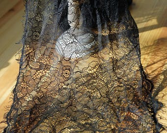 3 metre * 30cm lace CHANTILLY Black - Lace fringe - LACE BLACK Ref. 2306