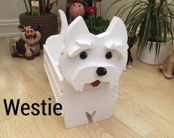WESTIE DOG,wooden,garden planter garden ornament,decoration,name,tag,mother's day gift,