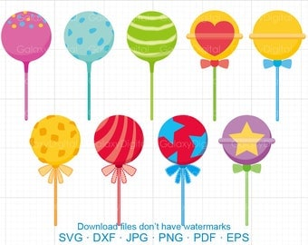 Lollipop Clipart SVG, Candy Clipart SVG DXF Silhouette Cricut Cut Files Commercial use