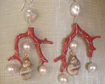 Coral earrings, pearls, shells, Silver 925%.