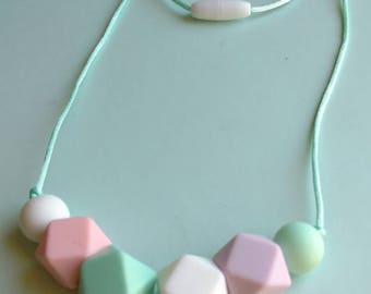 Silicone teething necklace, pastel colors, chewlery, chew necklace, teething baby, baby shower gift, new mom, cheap shipping