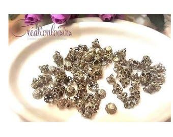 50 bead caps spacer cone flowers filigree bronze