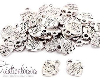 10 charms silver jewel heart 12.5 x 11 mm nickel free