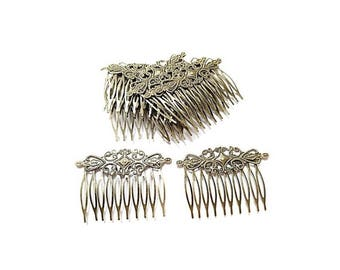 10 stamp hollow comb flower Antique Bronze filigree Bobby pins