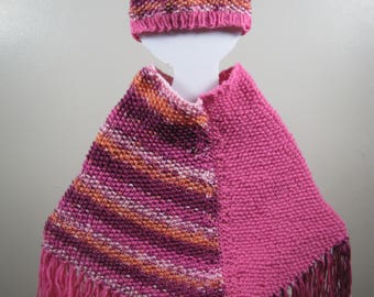 Girl's Hat & Poncho - Seeded Set
