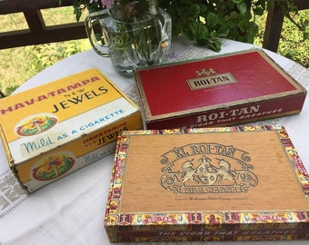 Vintage Cigar Boxes Set of 3, Havatampa, El Roi Tan and Roi Tan Cigar Boxes