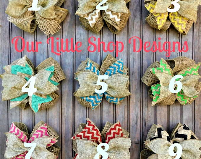 Burlap Bow, Chevron Bow, Add A Bow, Bow Color Options, Bow Options, Door Wreath Bow, Handmade Bow, OurLittleShopDesigns Add A Bow, 8 dollars