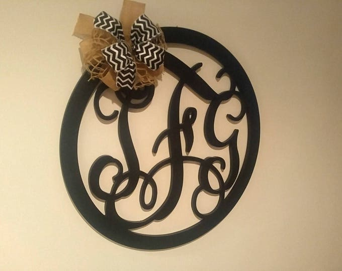 Monogram Wall Decor, Three Letter Wreath, Wall Sign, Wedding Guest Book, Metal Monogram, Wall Hanging, Home Decor, gift idea, Wedding Decor