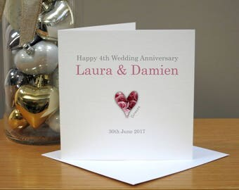 Personalised Flowers 4th Anniversary Card