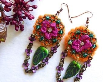 Sugar on scarab earrings long dangle earrings, felted wool, swarovski crystal, polymer clay, Tangerine and purple