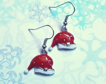 Santa hat earrings, Santa earrings, Christmas earrings, Dangle earrings, Christmas, Santa hat, Santa, Santa claus