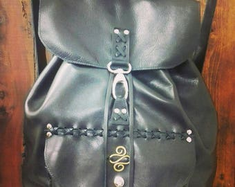 Real Black leather Backpack