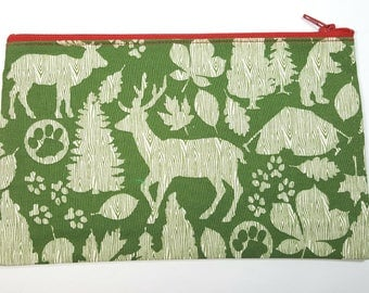 Woodland Nature Fabric Zipper Pouch