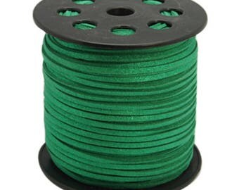 Green suede cord 5 m glitter 3 mm