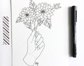 Botanical Illustration Wall Art, Floral Line Drawing, Black White Flower, Flora Line Art, Gifts for Women