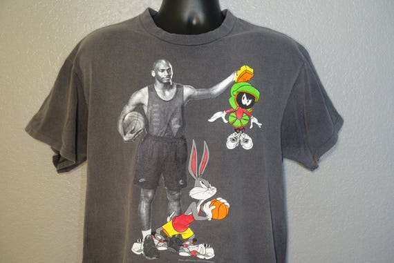 1993 RARE Space Jam - Nike Michael Jordan Looney Tunes Marvin the Martian & Bugs Bunny XL Heavy Faded Vintage T-Shirt