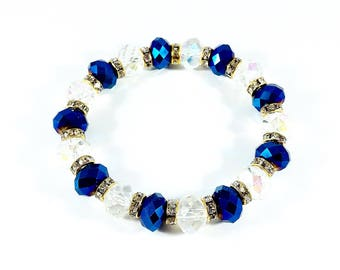 Sapphire Sparkles~Handmade Stretch Bracelet~ Sapphire Crystals~Faceted Crystals~Crystal Rondelles~New Year's Eve Bracelet~Crystal Bracelet